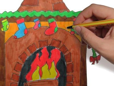 COMO DIBUJAR UNA CHIMENEA PASO A PASO: Dibujos de Navidad faciles para niños