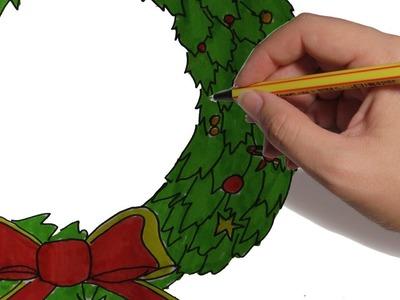 COMO DIBUJAR UNA GUIRNALDA DE NAVIDAD PASO A PASO: dibujos de navidad facil y a color