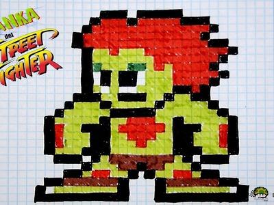 Handmade Pixel Art - How To Draw a Blanka | SPEED ART | MasVideos By: TheNocs