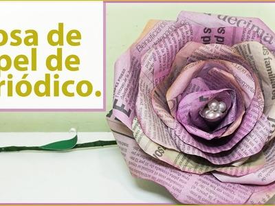 ROSAS DE PAPEL DE PERIÓDICO Y ACUARELA. Tutorial fácil. Manualidades flores gigantes.