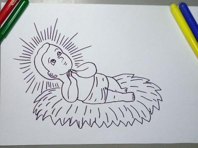 Aprende a dibujar al niño Jesús en el pesebre para Navidad