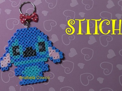 Cómo hacer un llavero de STITCH de hama beads, pyssla. keyring stitch perler beads
