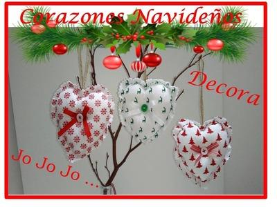 Corazones Navideños  faciles de hacer para decorar en navidad