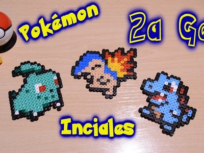 Pokémon Iniciales de la 2a Generación con Hama.Perler Beads (Chikorita-Cyndaquill-Totodile)