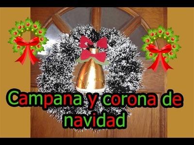 Campana y corona de navidad - Reciclado (☞゚ ∀゚ )☞