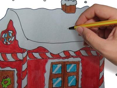 COMO DIBUJAR UNA CASA DE NAVIDAD PASO A PASO FACIL: Dibujos de Navidad para niños a color