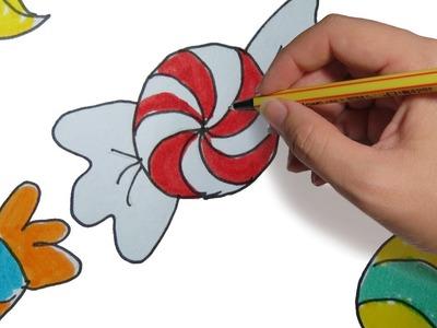 COMO DIBUJAR CARAMELOS FACIL PASO A PASO: para niños a color