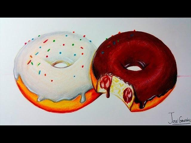 Como Dibujar Donas Donuts Realista Con Lapices De Colores