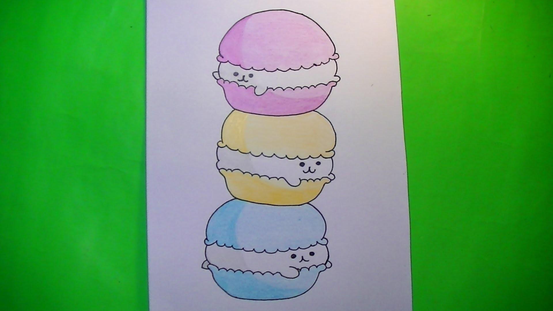 Como Dibujarpintar Macarons Kawaii Comida Kawaii Speed Draw