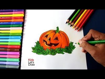 How to draw Halloween Pumpkin | Como dibujar una Calabaza de Halloween