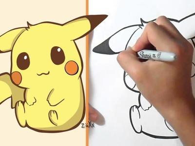Cómo dibujar Pikachu Kawaii