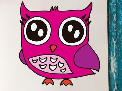 Cómo Dibujar un Búho Kawaii Paso a Paso (Fácil y Rápido) | How to Draw an Owl