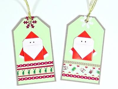Ideas de Navidad #7 | Tags para regalos - Papa Noel de Origami