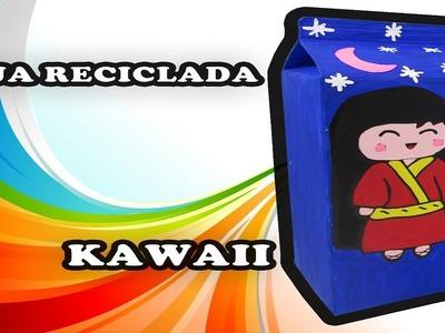 Manualidad KAWAII para decorar tu cuarto con caja de leche reciclada- PRACTIKO