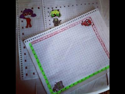 Márgenes kawaii para tus cuadernos.Ladybug. Rápido y Fácil