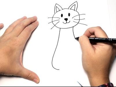 Cómo Dibujar un Gato paso a paso | Dibujos Fáciles de Animales para Niños