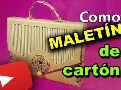 COMO HACER UN MALETÍN O CARTERA DE CARTÓN RECICLADO. DIY