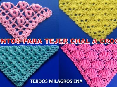 4 puntos para chales o shawl a crochet paso a paso en V, punta o triangular con abanicos y rococo