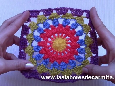 Crochet tutorial mandala cuadrado