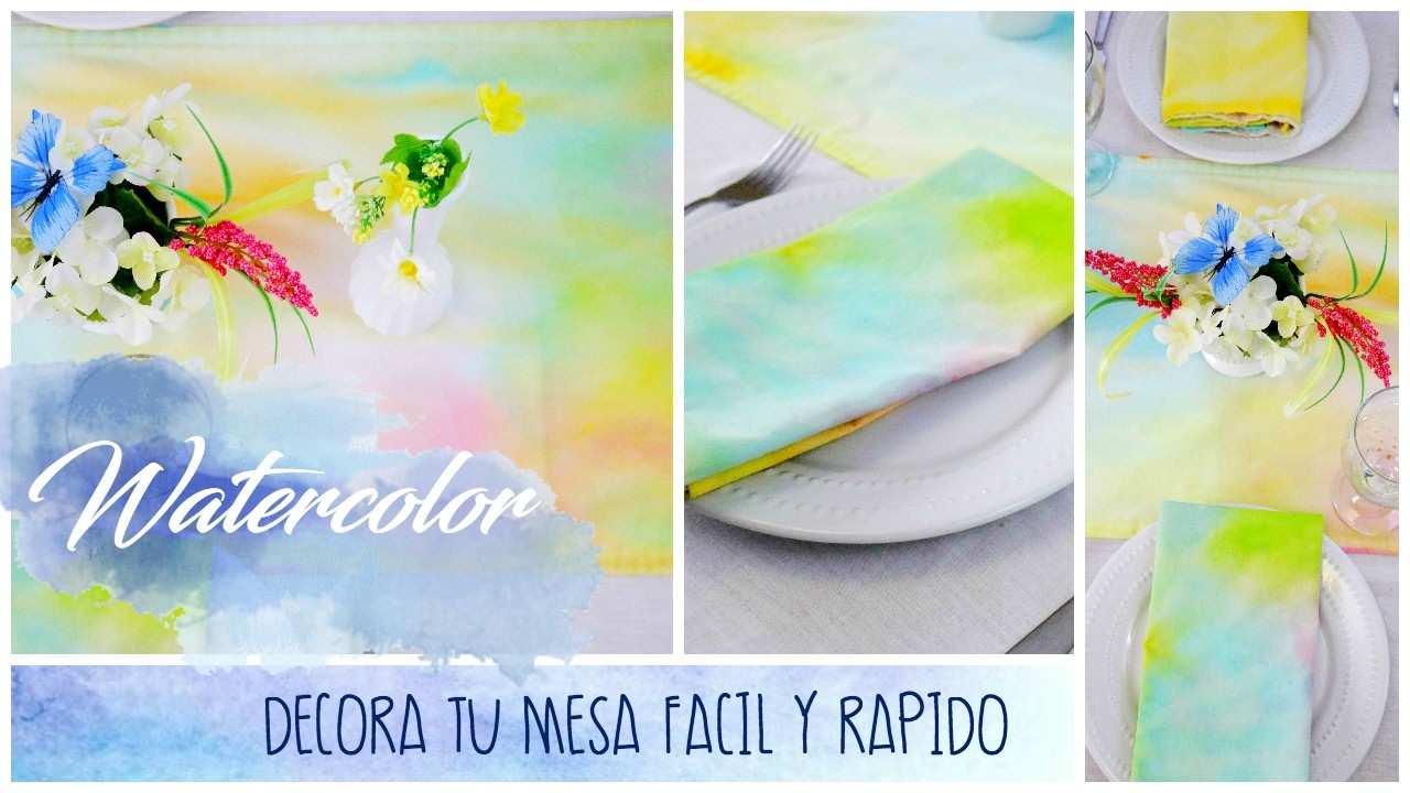DIY Watercolor. Idea para Decorar tu Mesa Facil y Barato