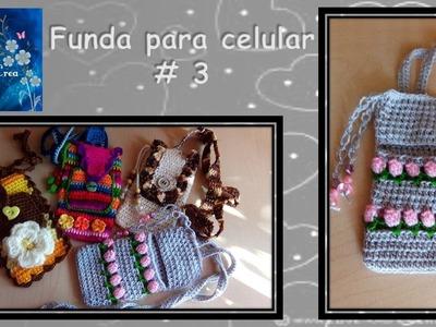 FUNDA PARA CELULAR TULIPANES en crochet # 3
