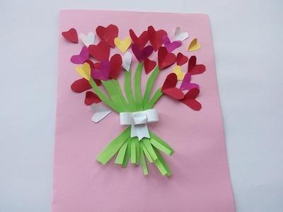 Manualidades románticas para San Valentín.  Una tarjeta   de corazones  para San Valentín