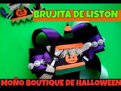 Moño boutique para Halloween.Moño de brujita.witch bow.Creactivate manualidades