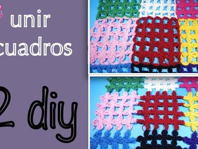2 formas de unir cuadros flor punto alargado ganchillo, crochet joining squares DIY