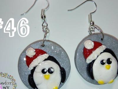 #46 Aretes de pingüino navideño Porcelana fría. Polymer Clay. ♥
