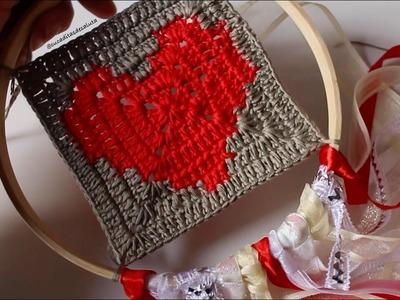 Atrapasueños  SAN VALENTIN ❤ (con GRANNY SQUARE de corazón) | Cucaditas de saluta