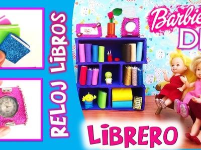 Como hacer LIBRERO, LIBROS, RELOJ y PORTAFOTOS para muñecas BARBIE |Manualidades