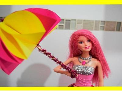 Como hacer sombrilla de papel facil para todas las muñecas