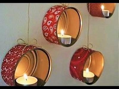 DIY Candelabros colgantes - Como hacer candelas decorativas para San Valentin