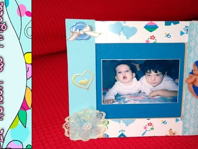 DIY Como decorar un marco de fotos, de bebe con la técnica embossing . Ideas baby shower bautizos.