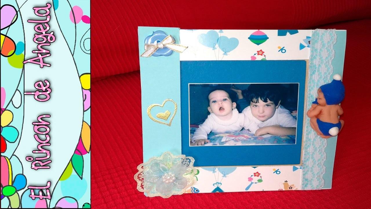 DIY Como decorar un marco de fotos, de bebe con la técnica embossing . Ideas baby shower bautizos.