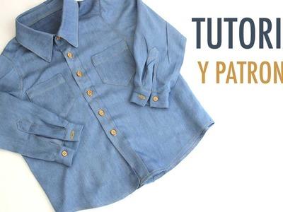 DIY Cómo hacer camisa jeans para niños (patrones gratis)