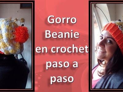 GORRO BEANIE en crochet  paso a paso (BEANIE STEP BY STEP)