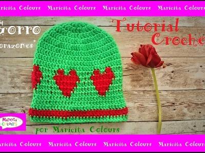 Gorro de Corazones a crochet por Maricita Colours