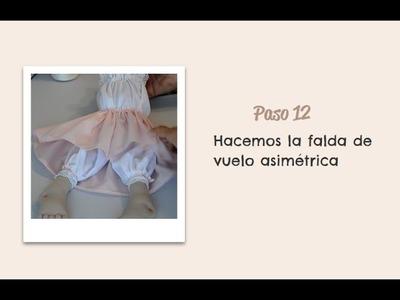 Paso 12 -  Hacemos la falda de vuelo asimétrica - Muñeca Angy Diy - handmade Dolls
