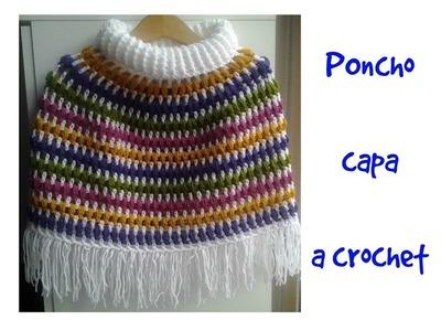 Poncho capa a crochet #tutorial #paso a paso