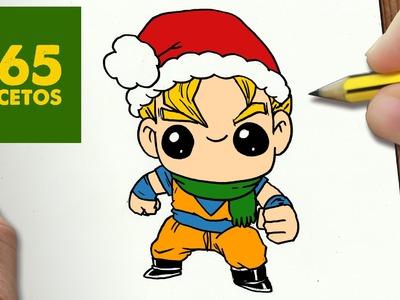 COMO DIBUJAR A GOKU PARA NAVIDAD PASO A PASO: Dibujos kawaii navideños - How to draw a Goku