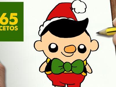 COMO DIBUJAR A PINOCHO PARA NAVIDAD PASO A PASO: Dibujos kawaii navideños - How to draw a pinocho