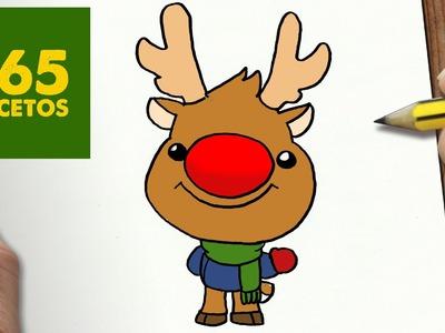COMO DIBUJAR A RUDOLF PARA NAVIDAD PASO A PASO: Dibujos kawaii navideños - How to draw a rudolf