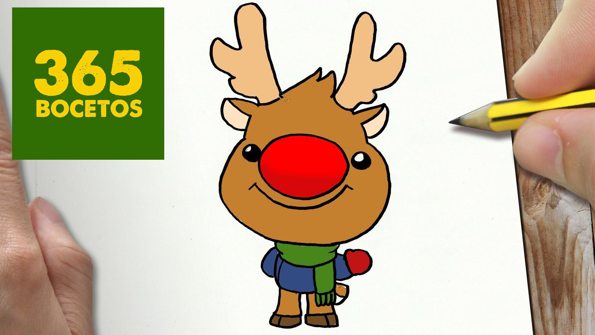 Como Dibujar A Rudolf Para Navidad Paso A Paso Dibujos Kawaii