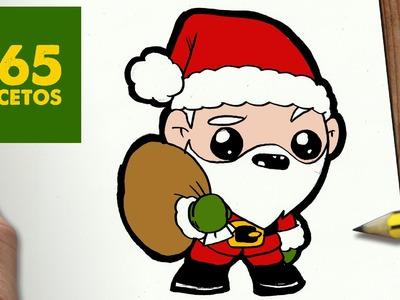 COMO DIBUJAR A SANTA CLAUS PARA NAVIDAD PASO A PASO: Dibujos kawaii navideños - draw a Santa claus