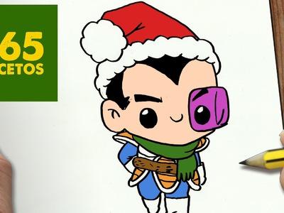 COMO DIBUJAR A VEGETA PARA NAVIDAD PASO A PASO: Dibujos kawaii navideños - How to draw Vegeta