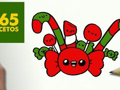 COMO DIBUJAR CARAMELOS PARA NAVIDAD PASO A PASO: Dibujos kawaii navideños - How to draw a Candy