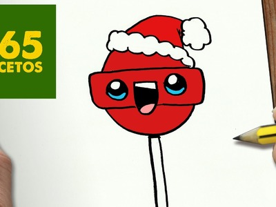 COMO DIBUJAR CHUPACHUPS PARA NAVIDAD PASO A PASO: Dibujos kawaii navideños - How to draw a lollipop