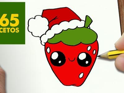 COMO DIBUJAR FRESA PARA NAVIDAD PASO A PASO: Dibujos kawaii navideños - How to draw a Strawberry
