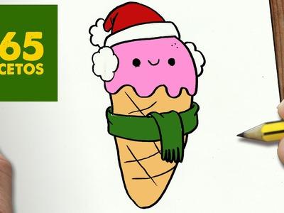 COMO DIBUJAR HELADO PARA NAVIDAD PASO A PASO: Dibujos kawaii navideños - How to draw a ICE CREAM